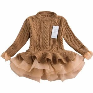Girls Tan Brown Tulle Knitted Sweater Dress